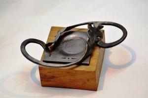Oak, Leaf, Tealight holder, Candle Holder, Hand Forged, Fire Welded, Genuine Oak Wood
