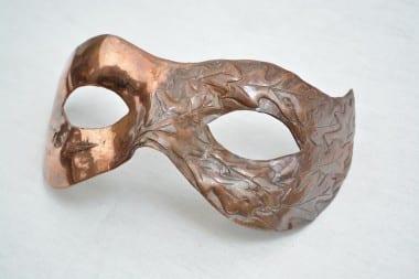 Repoussé, repousse, hand forged, oak leaves, oak mask, copper fancy dress mask