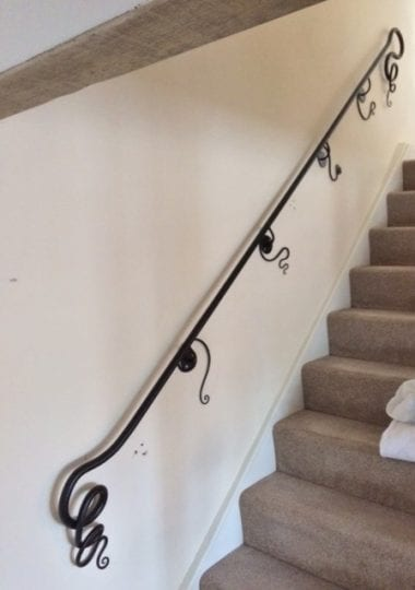 Banister, Hand Rail, Wrought Iron, Squiggle, Blacksmith, Swann Forge, Home Interior