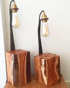 Yew, Lamp, Wood Work, Edison Bulb, Wrought Iron, Brass, Resin, Swann Forge, Blacksmith,